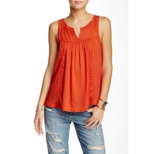 Lucky Brand Split Neck Lace Trim Top